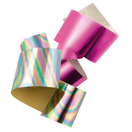 Фольга для Нейл Арта, розовая + радужная
